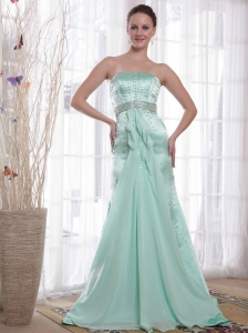 Apple Green Column / Sheath Strapless Brush /Sweep Beading Chiffon and Satin Prom / Pageant Dress