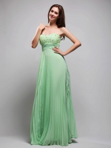 Apple Green Column Sweetheart Floor-length Chiffon Beading Prom / Evening Dress