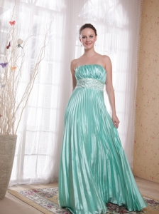 Apple Green Empire Strapless Floor-length Elastic Woven Satin Beading Prom Dress
