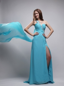 Aqua Blue Column One Shoulder Watteau Train Chiffon Beading and Ruch Prom Dress