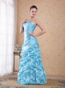 Aqua Blue Column/Sheath Strapless Floor-length Organza Beading Prom Dress