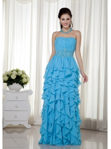 Aqua Blue  Prom Dress Empire Strapless Chiffon Beading