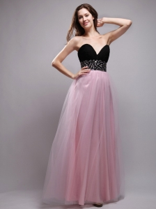 Baby Pink Sweetheart Floor-length Neet Beading Prom / Evening Dress