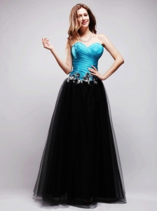 Black and Blue A-line Sweetheart Floor-length Tulle Appliques Prom / Evening Dress