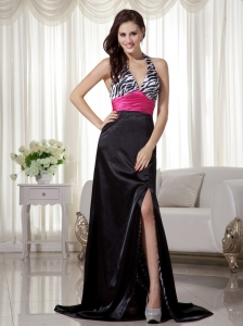 Black and Hot Pink Column / Sheath Halter Brush Train Zebra Prom Dress