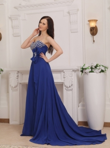 Blue Empire Sweetheart Court Train Chiffon Beading and Bow Prom Dress