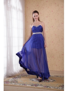 Royal Blue Empire Sweetheart Floor-length Chiffon Beading and Ruch Prom / Celebrity Dress