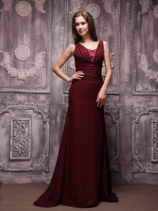 Burgundy Column V-neck Brush Train Chiffon Beading Prom / Evening Dress