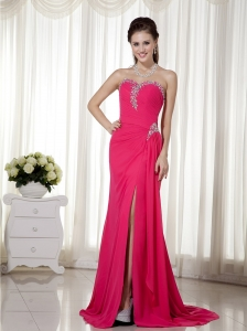 Coral Red Column / Sheath Sweetheart Brush Train Chiffon Beading Prom Dress
