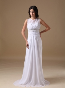 Elegant Column Scoop Brush Train Chiffon Beading Wedding Dress