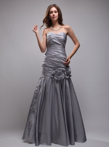Gray Mermaid Sweetheart Floor-length Taffeta Hand Made Flowers Prom / Evening Dress