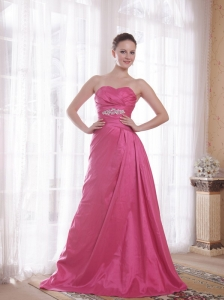 Rose Pink A-Line / Princess Sweetheart Court Train Taffeta Beading Prom Dress