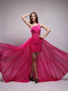 Hot Pink Asymmetrical One Shouleder Brush Train Chiffon Beading Prom / Evening Dress