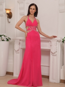 Coral Red Column Halter Brush Train Chiffon Beading Prom / Pageant Dress