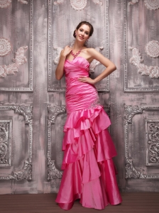 Hot Pink Column Sweetheart Floor-length Taffeta  Beading Prom Dress