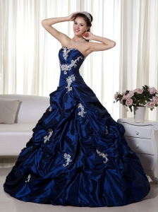 Navy Blue Ball Gown Strapless Taffeta Appliques Prom Dress