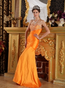 Orange Column / Sheath Taffeta Prom / Pageant Dress Sweetheart Floor-length Beading