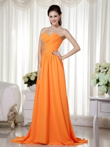 Orange Empire Sweetheart Brush Train Chiffon Beading and Ruch Prom / Celebrity Dress