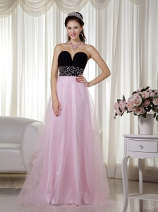 Pink and Black A-line Sweetheart Floor-length Taffeta and Tulle Beading Prom Dress