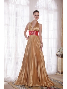 Popular Gold Empire Halter Brush Train Elastic Woven Satin Rhinestones Prom Dress