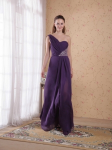 Purple Empire One Shoulder Floor-length Chiffon Beading and Ruch Prom Dress