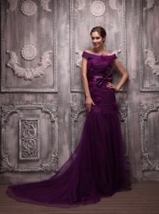Eggplant Purple Mermaid Off The Shoulder Brush Train Tulle Hand Made Flowers Prom / Evening Dress