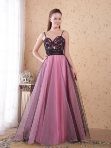 Rose Pink A-Line / Princess Spaghetti Straps Floor-length Tulle Appliques Prom Dress