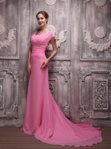Rose Pink Empire V-neck Brush Train Chiffon Beading Prom / Evening Dress