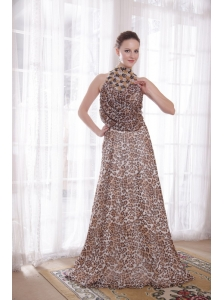 Sexy Empire High-neck Brush Train Leopard Beading Prom Dress