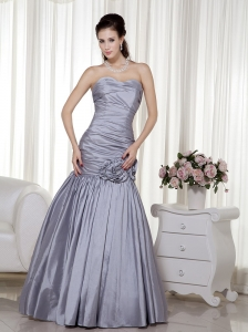Grey A-line Sweetheart Floor-length Taffeta Hand Made Flowers Prom Dress