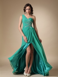 Turquoise Empire One Shoulder Brush Train Chiffon and Elastic Woven Satin Beading Prom Dress