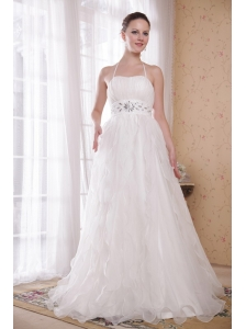 White A-Line / Princess Halter Brush Train Taffeta and Organza Rhinestones Prom Dress
