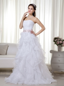 White A-line / Princess Strapless Brush Train Organza Beading Prom Dress