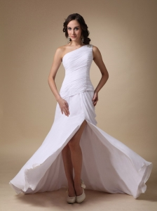 White Column One Shoulder Brush Train Chiffon and Elastic Woven Satin Ruch Prom Dress