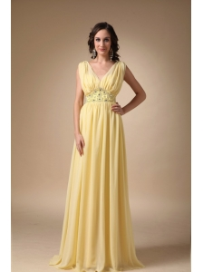 Yellow Empire V-neck Floor-length Chiffon Beading Prom / Celebrity Dress