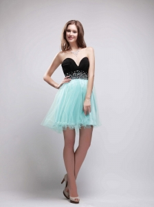 Black and Apple Green A-Line Sweetheart Mini-length Organza and Chiffon Beading Prom / Homecoming Dress