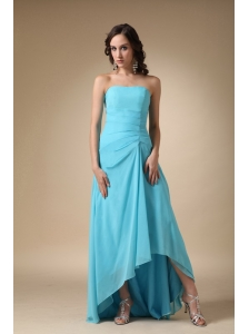 Aqua Blue A-line Strapless Asymmetrical Chiffon and Elastic Woven Satin Prom Dress