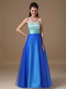 Apple Green and Royal Blue A-line Strapless Floor-length Taffeta and Tulle Beading Prom Dress