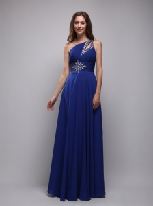 Blue Empire One Shoulder Floor-length Chiffon Beading Prom Dress