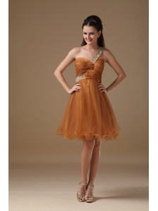 Brown A-line One Shoulder Mini-length Organza Beading Prom Dress