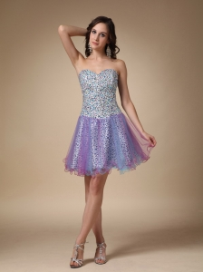 Colorful A-line Sweetheart Mini-length Leopard and Organza Prom / Homecoming Dress