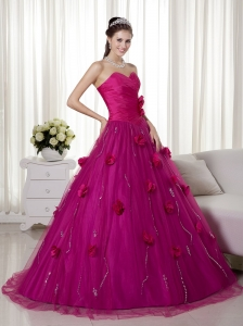 Fuchsia A-line Sweetheart Brush Train Tulle and Taffeta Hand Made Flowers Prom Dress