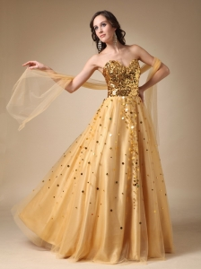 Gold A-line Sweetheart Floor-length Sequins Taffeta and Tulle Prom Dress