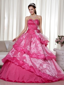 Hot Pink Ball Gown Sweetheart Floor-length Taffeta and Organza Beading and Hand Made Flower Quinceanera Dress