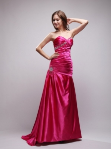 Hot Pink Beading and Ruch Prom Dress Column Sweetheart Brush Train