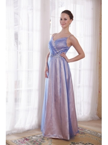Lilac Empire Straps Floor-length Tulle and Taffeta Beading Prom Dress