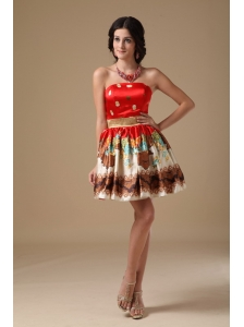 Multi-color A-line Strapless Mini-length Printing Prom Dress