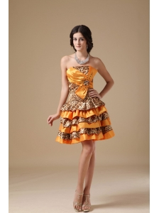 Multi-color A-line Strapless Mini-length Taffeta and Leopard Beading Prom Dress