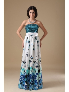 Multi-color Empire Strapless Floor-length Pringting Sequin Prom Dress