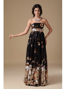 Multi-color Empire Strapless Floor-length Printing Prom Dress